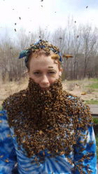courtney sitting on bench with bees swarmed her face looking like a beard=