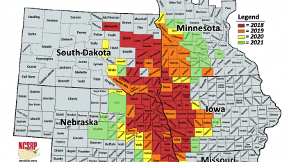 Map of Midwestern counties showing injury from the Soybean Gall Midge